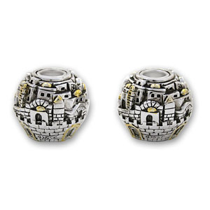 Jerusalem Globe Tapered Candle Holders