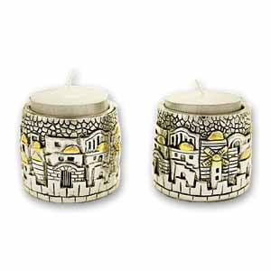 Cylindrical Jerusalem Candle Holders
