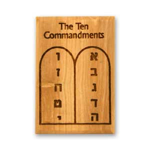 Decorative Magnets made of olive wood featuring the 10 Commandments.