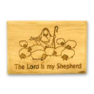 Jewish Magnet made of olive wood and engraved with the scripture The Lord is my Shepherd