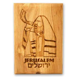 Israel Magnets made of olive wood engraved with a Shofar Player.