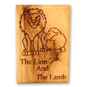 The Lion and the Lamb Olive Wood Magnet