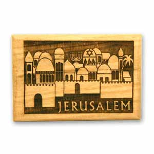 Olive Wood Magnet featuring ancient Jerusalem.