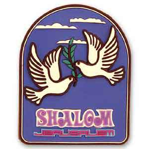 Shalom Jerusalem 3D Magnet with Doves of Peace