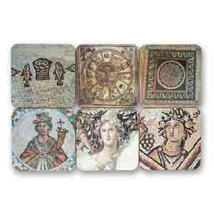 Ancient Mosaic Drink Coasters, Set of 6