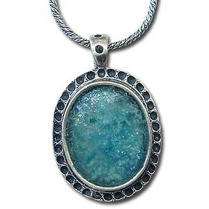 Sterling Silver and Roman Glass Pendant by Michal Kirat