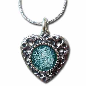 Sterling Silver and Roman Glass Heart Necklace by Michal Kirat