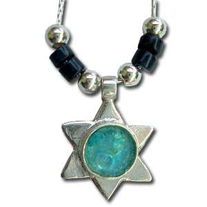 Sterling Silver and Roman Glass Star of David Pendant by Michal Kirat