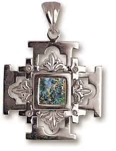 Sterling silver roman glass jerusalem cross pendant set with 2000 sterling silver roman glass jerusalem cross pendant aloadofball Images