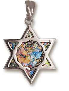 Sterling Silver Roman Glass Star of David Pendant