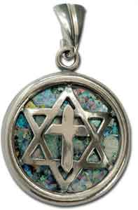 Sterling Silver Roman Glass Messianic Star Pendant