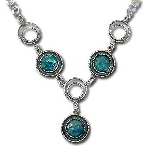 Sterling Silver and Roman Glass Necklace by Michal Kirat