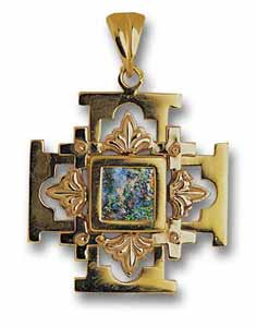 14kt Gold Roman Glass Jerusalem Cross Pendant