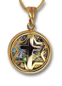 14kt Gold Roman Glass Messianic Star Pendant