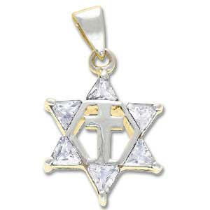 Sterling Silver Messianic Star Pendant with Clear Crystals