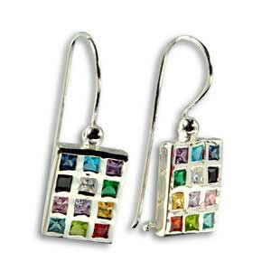 Sterling Silver Breastplate Dangling Earrings