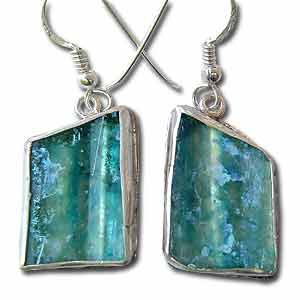Sterling Silver and Roman Glass Geometric Earrings by Michal Kirat
