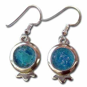 Sterling Silver and Roman Glass Pomegranate Earrings by Michal Kirat