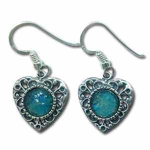 Sterling Silver and Roman Glass Heart Earrings by Michal Kirat
