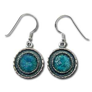 Sterling Silver and Roman Glass Earrings by Michal Kirat