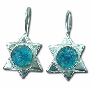 Sterling Silver and Roman Glass Star of David Earrings by Michal Kirat