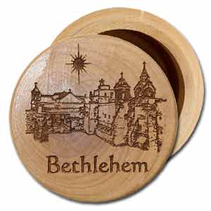 Bethlehem Olive Wood Round Box