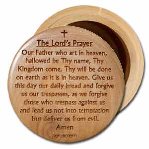 The Lord's Prayer Round Olive Wood Box with Lid