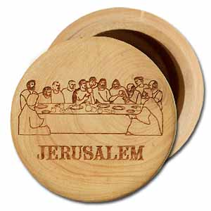 The Last Supper Round Olive Wood Box with Lid