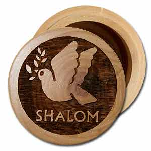 Dove of Peace Round Olive Wood Wooden Box