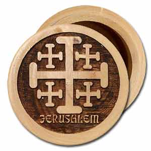Jerusalem Cross Round Olive Wood Wooden Box with Lid