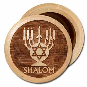 Menorah Round Olive Wood Wooden Box Design