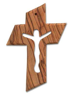 Olive Wood Cross with Crucifix Cut-Out