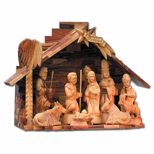 nativity scene christmas ornament holy land olive wood hand crafted 11 moveable pieces 11 x 15 inches 28 x 38 cm