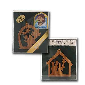 Olive Wood Christmas Religious Ornaments, Set of 2
