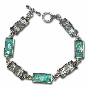 Silver and Roman Glass Bracelet by Michal Kirat