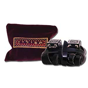 Leather Phylacteries with Burgundy Bag