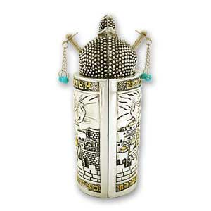 Medium Sephardic Torah Scroll with a Silver and Gold Plated Case