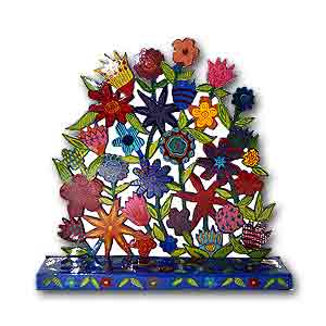 Flowers Hanukkah Menorah by Yair Emanuel