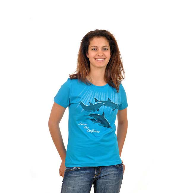 d7ac3762 Israeli Save the Dolphins Womens T-Shirt. 100% Cotton T-Shirt. Blue. Womens  Cut Sizes
