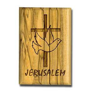 "Carved Olive Wood magnet featuring the Cross, Dove of Peace and the word ""Jerusalem"""