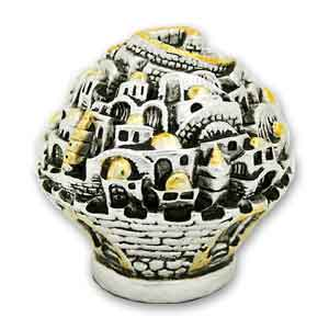 Jerusalem Globe Silver Plated Mini-Figurine