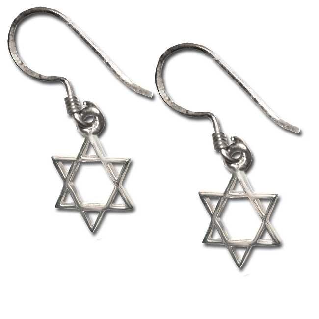 Sterling Silver Star Of David Dangling Earrings