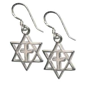 Messianic Star of David Earrings. Sterling Silver.