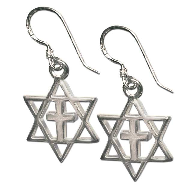 Messianic Star Of David Earrings Sterling Silver Height 1 2 Inch 3 Cm