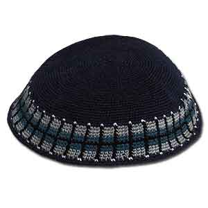 Knit Black Kippah with Grey or Blue Pattern