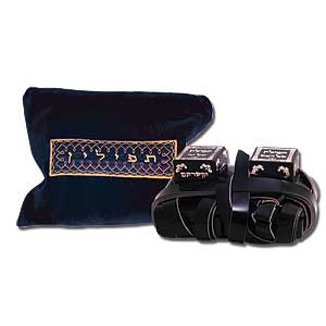 Leather Phylacteries with Blue Bag