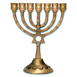 Star of David Brass Menorah