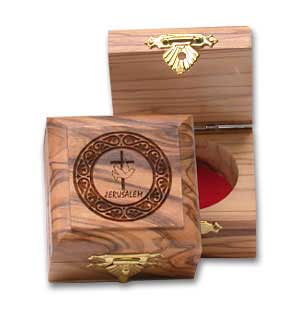Olive Wood Boxes with Cross and Dove Decoration