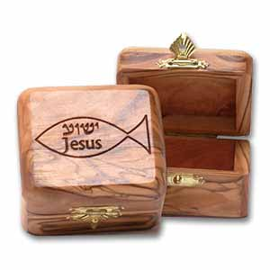 Large Olive Wooden Boxes with Jesus/Yeshua Fish Decoration