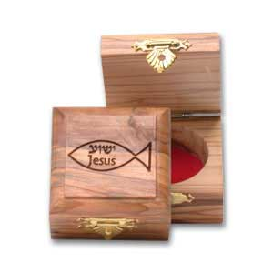 Holyland olive wood box decorated with Jesus/Yeshua Fish